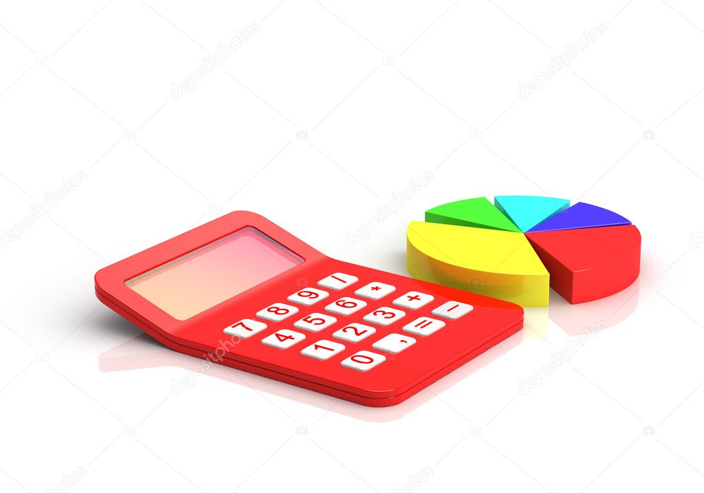 Business diagram and Red calculator — Stock Photo #8742250