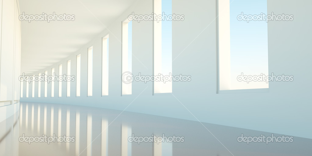 Long empty korridor with open windows — Stock Photo #8743906