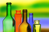 Colored glass bottles — Stock Photo