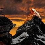 Biker in the Swiss Alps — Stock Photo