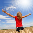 The girl in a wheaten field — Stock Photo