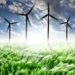 Wheat fields with wind turbines — Stock Photo