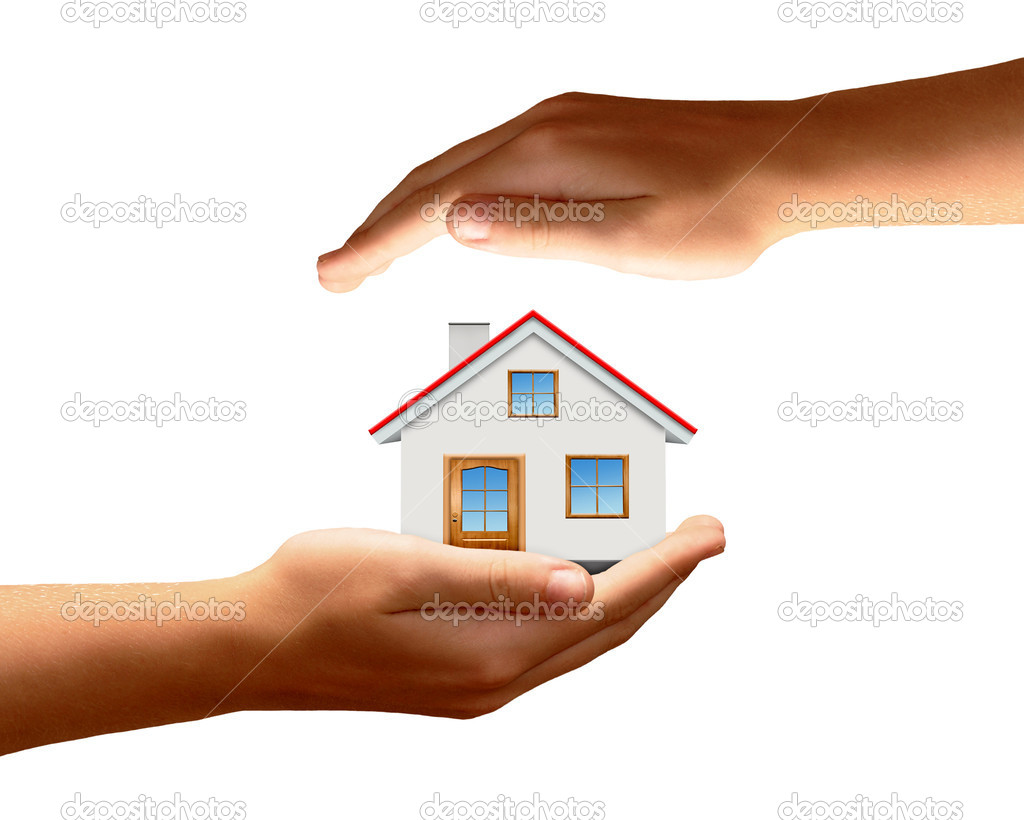 The house in hands isolated on white background  — Stock Photo #10104384
