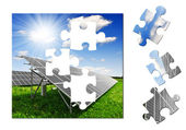 Puzzle of the solar panel — Stock Photo