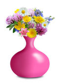 Meadow flowers in pink vase — Stock Photo
