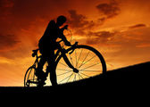 Silhouette of the cyclist — Foto Stock