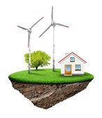 The house with wind turbine — Stock Photo