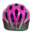 Pink bicycle cross country plastic helmet - Stock Photo