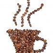 Coffee cup made of coffee beans - Stock Photo