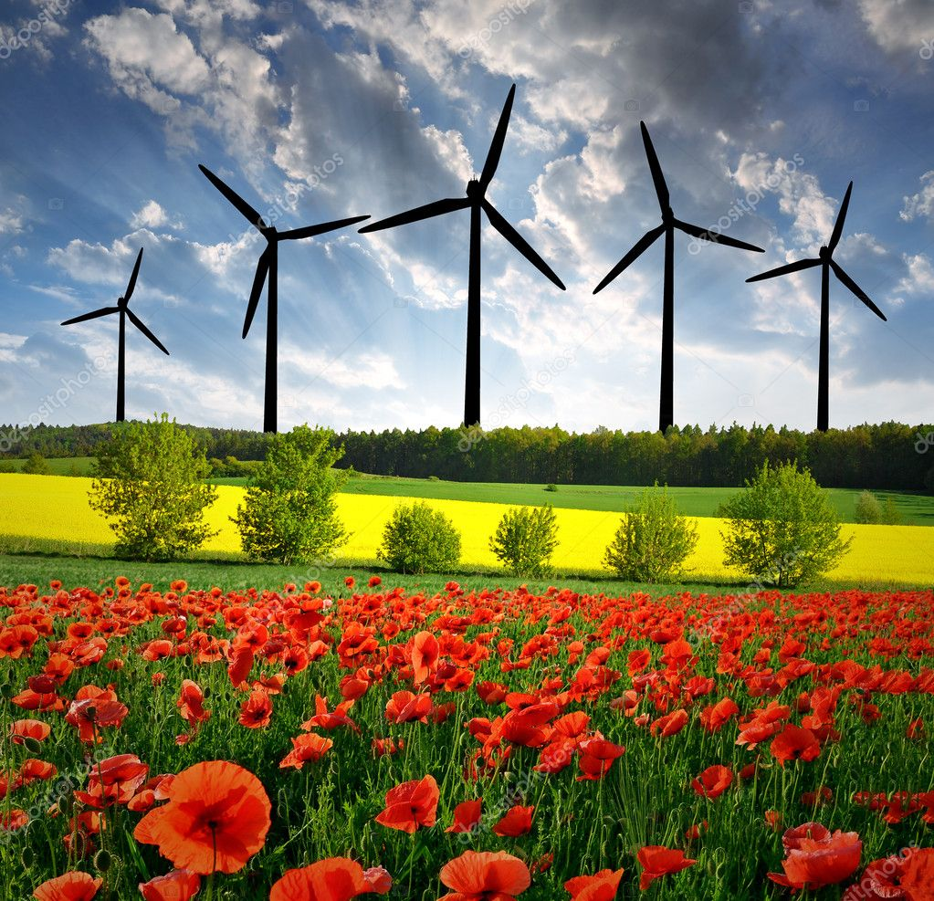 Sunset over the  spring landscape with wind turbine  — Stock Photo #7973970