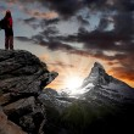 Girl looking at the beautiful Mount Matterhorn — Stock Photo #8027644