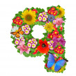 Alphabet of flowers and butterfly - Foto de Stock