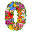 Alphabet of flowers and butterfly - Stock Photo
