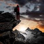 Girl looking at the beautiful Mount Ober Gabelhorn — Stock Photo #8059104