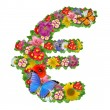 Euro symbol from flowers - Stock Photo