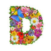 алфавит цветы и бабочки — Стоковое фото