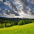 Sunset over the national park Sumava - Stock Photo