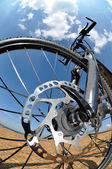 Detail disc brakes on mountain bike — Stock Photo
