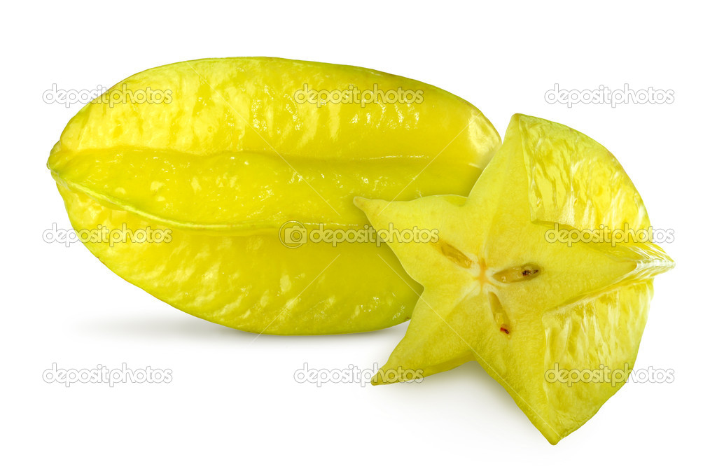 Close up view of the carambola on the white   Stock Photo #8099378