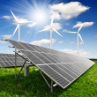 Stock Photo: Solar energy panels and wind turbine