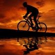 Stock Photo: Silhouette of cyclist