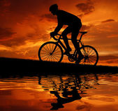 Silhouette of the cyclist — Stockfoto