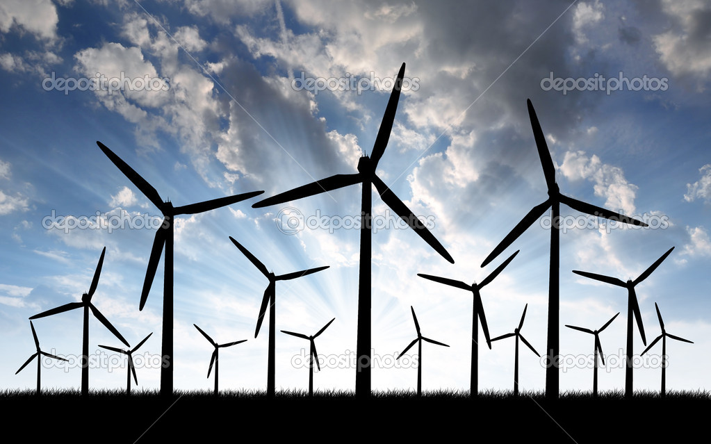 Wind turbine at sunset  — Stock Photo #8179272