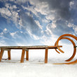 Old wooden sledge — Stock Photo
