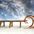 Stock Photo: Old wooden sledge