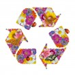 Recycling symbol of flowers, butterflies and ladybug - Stock Photo