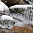Stock Photo: Winter creek in national park Sumava