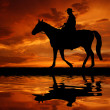 Silhouette cowboy — Stock Photo