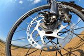 Detail disc brakes on mountain bike — Stock Photo