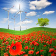 Spring landscape with wind turbines — Stock Photo