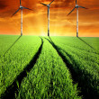 Stock Photo: Spring landscape with wind turbines