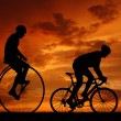 Silhouette cyclists — Stock Photo #8857731