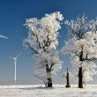 Winter tree with wind turbine — Stock Photo