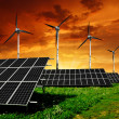 Solar energy panels and wind turbine — Stock Photo #8857883