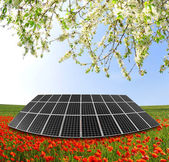 Solar panel in spring landscape — Stock Photo