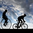 Silhouette cyclists - Stock Photo