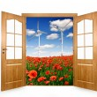 Open the door to the spring landscape - Stock Photo