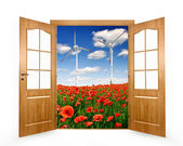 Open the door to the spring landscape — Stock Photo
