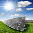 Solar energy panels and wind turbine — Stock Photo #9194858
