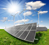 Solar energy panels and wind turbine — Foto Stock