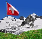 Strahlhorn, rimpfischhorn ve allalinhorn - i̇sviçre alpleri — Stok fotoğraf