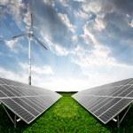 Solar energy panels and wind turbine — Stock Photo #9577220