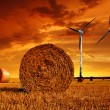 Straw bales with wind turbines - Stock Photo