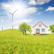 Stock Photo: House with wind turbines
