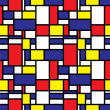 Seamless Mondrian Background — Stock Vector