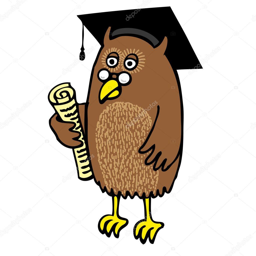 Owl Holding Scroll